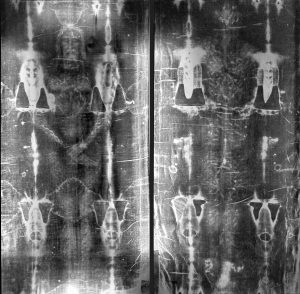 The famed Shroud of Jesus Christ's burial in the rich man's tomb after his atonement for our sins on the Cross.